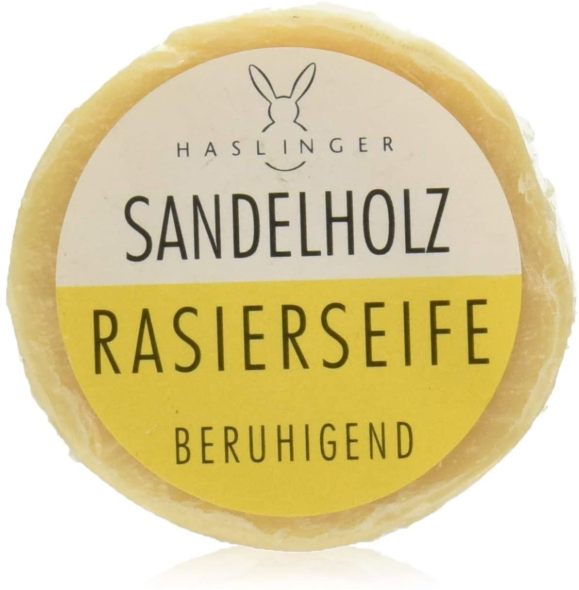 HASLINGER Sandelholz Rasierseife, 3*60gr. (180 Gramm) in Alu-Dose Hergestellt in Österreich