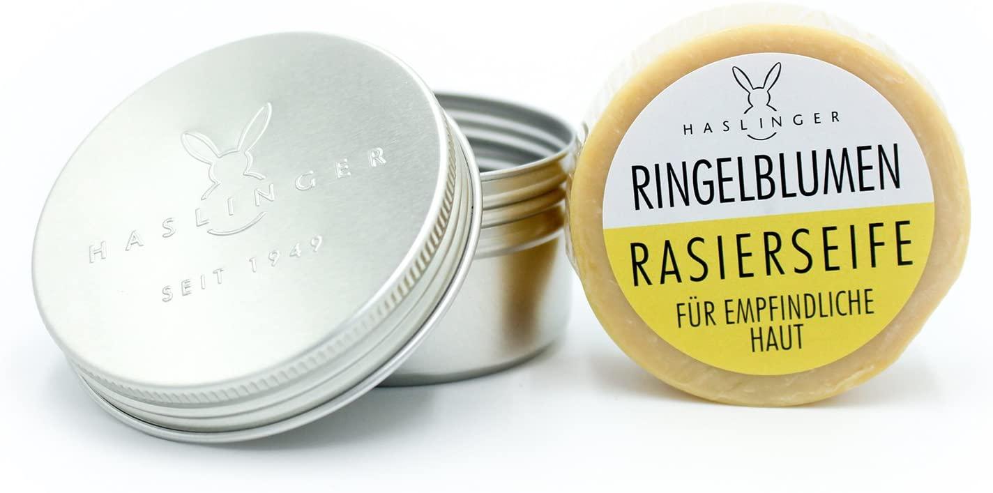 HASLINGER Ringelblumen Rasierseife, 60 g in Dose Hergestellt in Österreich