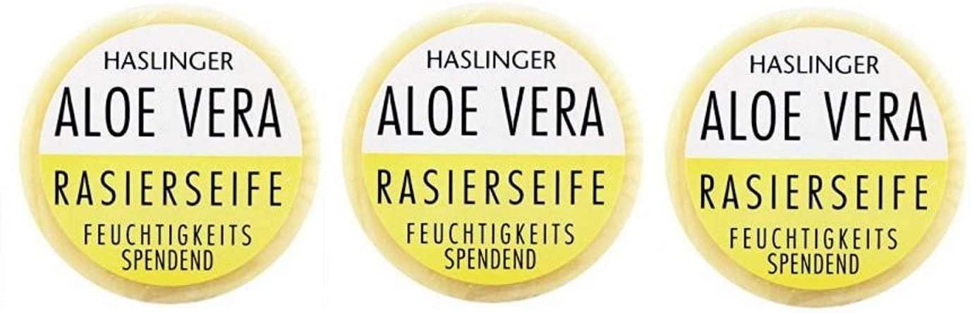 HASLINGER Aloe Vera Rasierseife 3*60gr. (180 Gramm) Hergestellt in Österreich