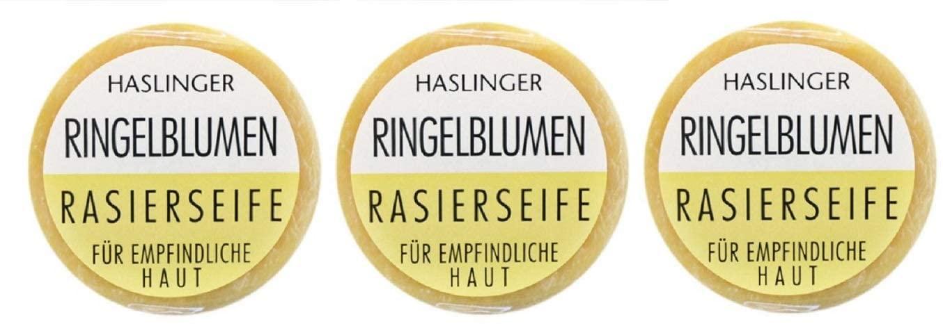 HASLINGER Ringelblumen Rasierseife 3*60gr (180 Gramm) Hergestellt in Österreich